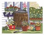 Janlynn Rain Barrel and Windowbox Cross Stitch Kit