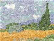 Van Gogh - A Wheatfield with Cypresses - DMC Cross Stitch Kit