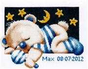 Pako Sleepy Teddy - Boy Birth Sampler Cross Stitch Kit