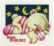 Pako Sleepy Teddy - Girl Birth Sampler Cross Stitch Kit