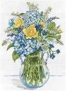 Design Works Crafts Blue and Yellow Floral Cross Stitch Kit