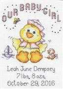 Design Works Crafts Girl Chick Birth Sampler Cross Stitch Kit