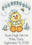 Design Works Crafts Boy Chick Birth Sampler Cross Stitch Kit