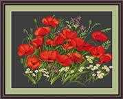 Luca-S Poppies on Black Cross Stitch Kit