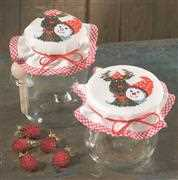 Rudolf Jar Toppers - Permin Cross Stitch Kit