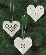 White Heart Tree Decorations - Permin Embroidery Kit