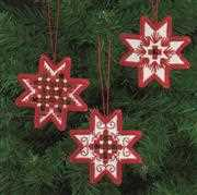 Red Star Tree Decorations - Permin Embroidery Kit