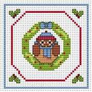 Owl Wreath Card - Fat Cat Cross Stitch Card Design