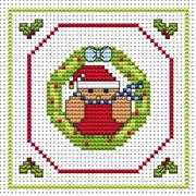 Robin Wreath Card - Fat Cat Cross Stitch Card Design