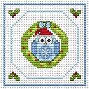 Twitt Wreath Card - Fat Cat Cross Stitch Card Design