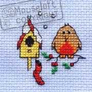 Christmas Eve Robin - Mouseloft Cross Stitch Card Design