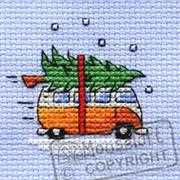 Collecting the Tree - Mouseloft Cross Stitch Card Design