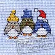 Three Little Penguins - Mouseloft Cross Stitch Card Design