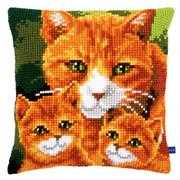 Vervaco Cat Family Cushion Cross Stitch Kit