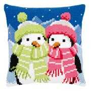 Penguins in Scarves Cushion - Vervaco Cross Stitch Kit