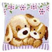 Cuddling Dogs Cushion - Vervaco Cross Stitch Kit