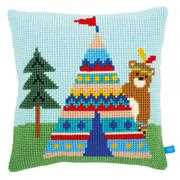 Bear and Tepee Cushion - Vervaco Cross Stitch Kit