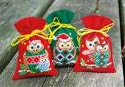 Christmas Owl Bags - Set of 3
