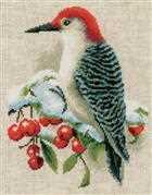 Red Woodpecker - Vervaco Cross Stitch Kit