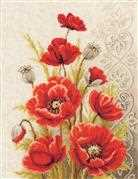 Vervaco Poppies and Swirls Cross Stitch Kit