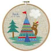 Vervaco Bear and Tepee Birth Sampler Cross Stitch Kit