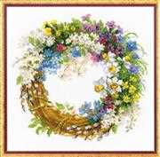 RIOLIS Wreath with Bird Cherry Cross Stitch Kit