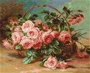 Luca-S Basket of Roses Cross Stitch Kit