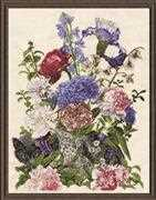 Bouquet with Cat - Design Works Crafts Cross Stitch Kit