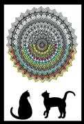 Design Works Crafts Zenbroidery Printed Fabric - Cat Mandala Embroidery