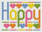 Fat Cat Sew Simple Happy Word Cross Stitch Kit