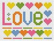 Fat Cat Sew Simple Love Word Cross Stitch Kit
