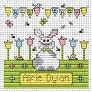 New Baby Bunny Card - Fat Cat Cross Stitch Kit