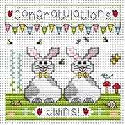 Twin Bunnies Card - Fat Cat Cross Stitch Kit