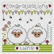 Twin Sheep Card - Fat Cat Cross Stitch Kit