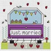 Just Married Campervan Card - Fat Cat Cross Stitch Kit