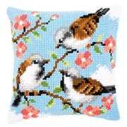 Birds Between Flowers Cushion - Vervaco Cross Stitch Kit