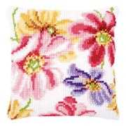 Colourful Flowers Cushion - Vervaco Cross Stitch Kit