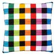 Coloured Squares Cushion - Vervaco Long Stitch Kit