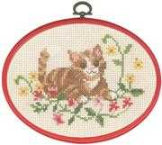 Permin Tabby Cat in Flowers Cross Stitch Kit