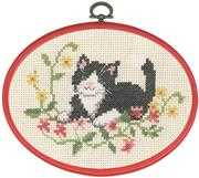 Black Cat in Flowers - Permin Cross Stitch Kit