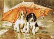 Luca-S Dogs Under an Umbrella Cross Stitch Kit