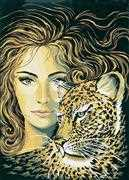 Leopard Maiden - Grafitec Tapestry Canvas