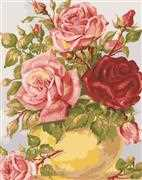 Roses in a Yellow Vase - Grafitec Tapestry Canvas