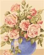 Roses in a Blue Vase - Grafitec Tapestry Canvas