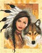 Indian Maiden with Wolf - Grafitec Tapestry Canvas