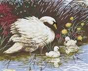 Mother Swan and Cygnets - Grafitec Tapestry Canvas