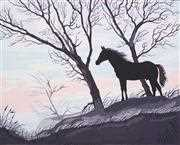 Stallion Silhouette - Grafitec Tapestry Canvas