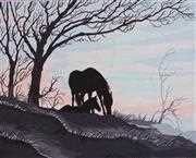 Mare and Foal Silhouette - Grafitec Tapestry Canvas