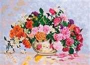 Roses in a China Bowl - Grafitec Tapestry Canvas