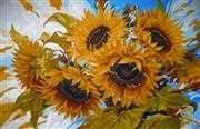 Windswept Sunflowers - Grafitec Tapestry Canvas